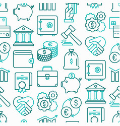 finance seamless pattern with thin line icons vector image