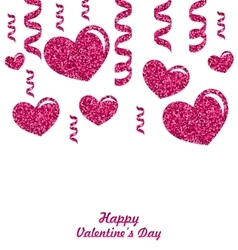 Frame from Pink Hearts with Glitter Background vector image
