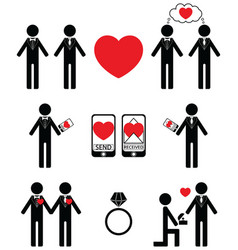 Gay man Falling in love and engagement icons vector