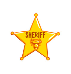 golden sheriff star badge american justice emblem vector image