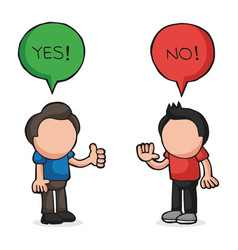 hand-drawn cartoon of two men arguing yes no in vector image