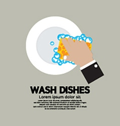 Hand Washing Dishes With Sponge vector