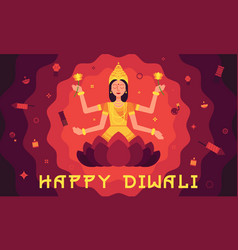 happy diwali card with lakshmi in flat style vector image