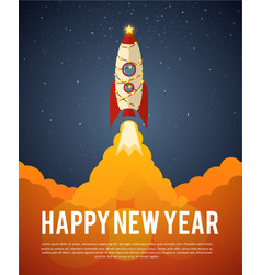 happy new year rocket vector image