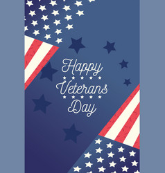 happy veterans day flags in corners blue stars vector image