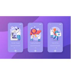 Hepatitis cirrhosis mobile app page onboard vector
