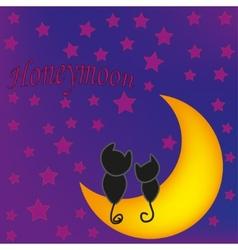 Honeymoon cats in front of moon vector