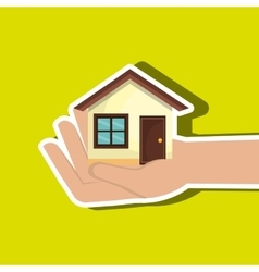 House in hand isolated icon design vector