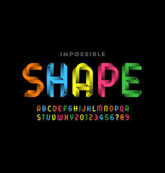 impossible shape style font vector image