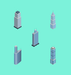 Isometric skyscraper set of apartment business vector