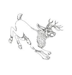 Jackalope hopping doodle art vector