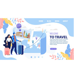 Landing page design inviting to travel vacation vector