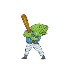 Largemouth bass baseball player batting cartoon vector