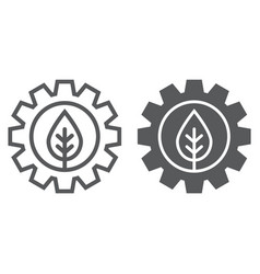 Leaf in gear line and glyph icon ecology lamp vector