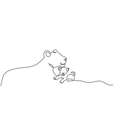 Lioness and small cubs lion family one line vector