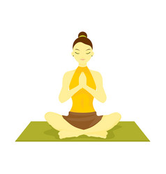 Lotus prayer pose yoga meditation vector
