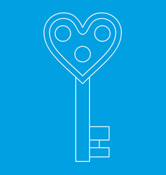 Love key icon outline style vector
