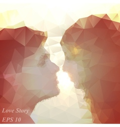 loving couple kissing at sunset beautiful vector image