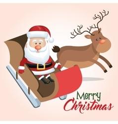 merry christmas santa reindeer sleigh vector image