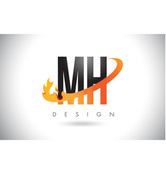 mh m h letter logo with fire flames design and vector image