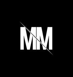 mm logo monogram with slash style design template vector image