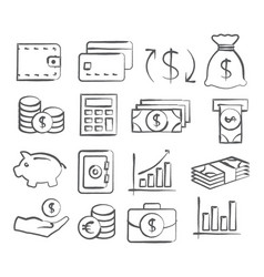 Money doddle icons vector