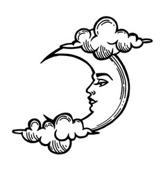 Moon tattoo with face stylized as engraving vector
