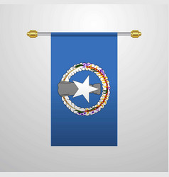 Northern mariana islands hanging flag vector