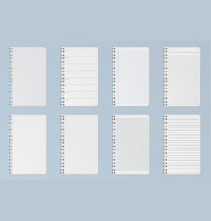 notebooks sheets lined checkered and dots pages vector image
