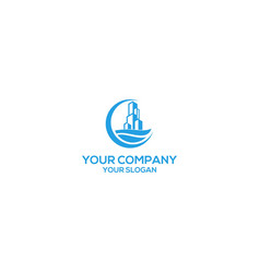 Ocean building logo design vector