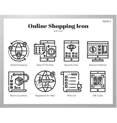 Online shopping icons line pack vector