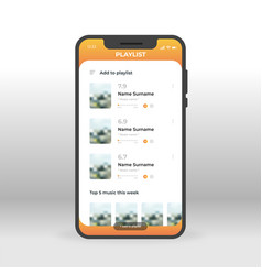 orange playlist ui ux gui screen for mobile apps vector image