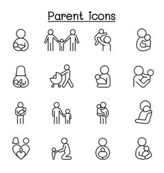 parent family icons set in thin line style vector image