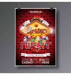 Party Flyer design on a Casino theme with chips vector
