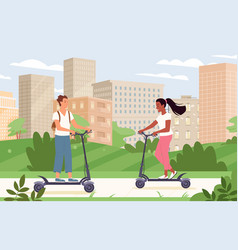 people ride electric scooter transport in urban vector image