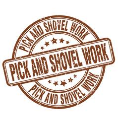 Pick and shovel work brown grunge stamp vector