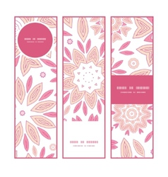 Pink abstract flowers vertical banners set pattern vector