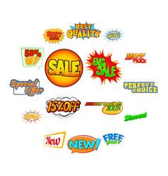 pop art comic sale discount icons vector image