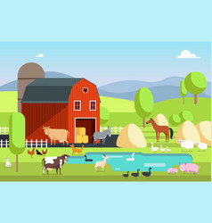 Ranch house farm building and agricultural vector