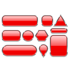 Red glass buttons with chrome frame geometric vector