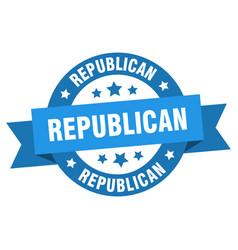 republican ribbon republican round blue sign vector image