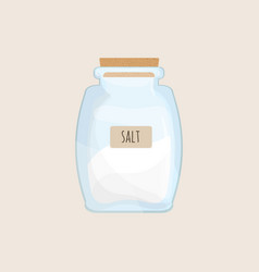 salt stored in closed glass jar isolated on white vector image