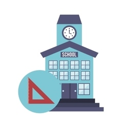 School building with education icon vector