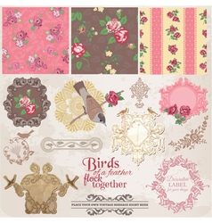 Scrapbook Design Elements - Vintage Flowers vector image