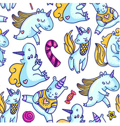 seamless background of unicorn and candies vector image