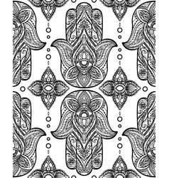 Seamless black pattern with hamsa boho buddhas vector