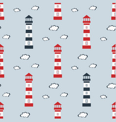 seamless pattern lighthouse on blue background vector image