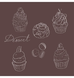 Set of cakes made with white outline on a dark vector