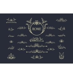 Set of italian calligraphic design elements vector