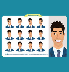 Set of male facial emotions business man vector